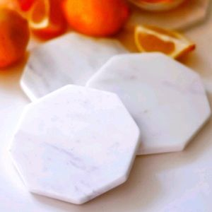 Zeal Living white marble coasters